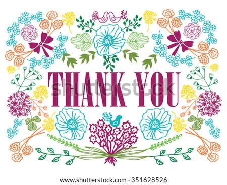 Vector Retro Romantic Thank You Card Stock Vector ...