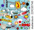 Vector Retro Seamless Pattern with Comics Speech Bubbles, Labels, Clouds, Logos and Comic Book Words - stock vector