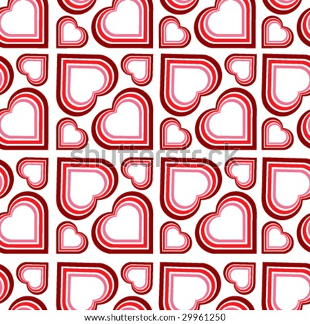 vector retro seamless pattern with hearts - stock vector