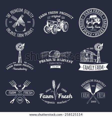Vector retro set of farm fresh logotypes. Vintage farm logotype collection - stock vector