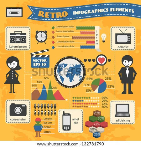 Vector retro set of infographic elements. - stock vector