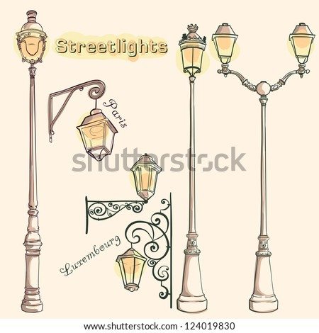 Vector Retro Streetlights. Streetlights of Paris and Luxembourg - stock vector