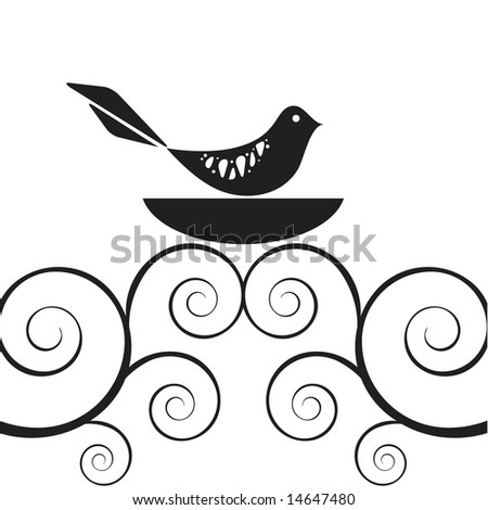 Vector retro style bird in nest atop swirly vine