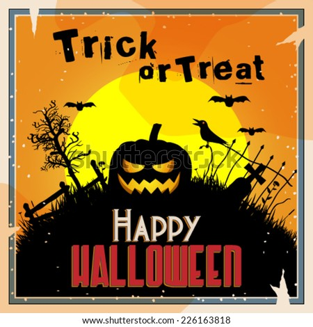 Vector retro style halloween background, graveyard with evil jack-o lantern illustration