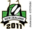 vector retro style illustration of a rugby ball and goal post inside rectangle with words new zealand 2011 - stock photo