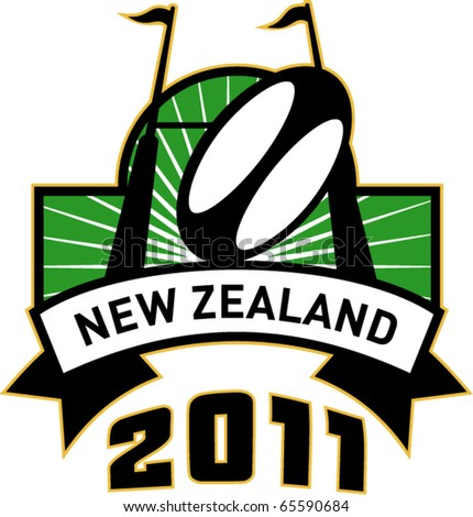 vector retro style illustration of a rugby ball and goal post inside rectangle with words new zealand 2011 - stock vector