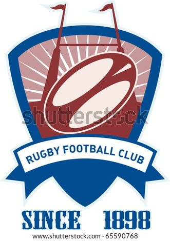 vector retro style illustration of a rugby ball and goal post inside shield with words rugby football club since 1898 - stock vector