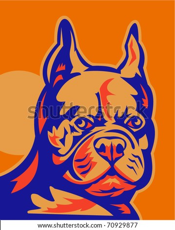 "vector retro style vector illustration of a French Bulldog portrait looking to front. The dogs are commonly called the Frenchie and are nicknamed ""clowns"" and ""frog dogs""."