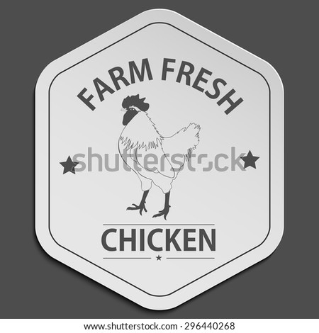 Vector retro styled badge with chicken symbol. Organic food badge.