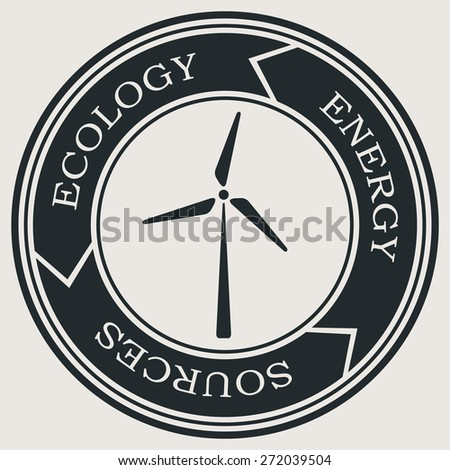 Vector retro styled badge with wind turbine symbol. Green energy sign. Ecology saving badge. - stock vector