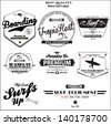 vector retro surf label and banner set. - stock vector