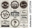 vector retro surf label set. - stock vector