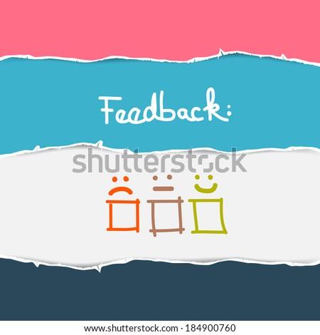 Vector Retro Torn Paper Feedback Background - stock vector