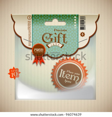 Vector Retro Transparent Plastic Pocket with Your Desired Header - stock vector