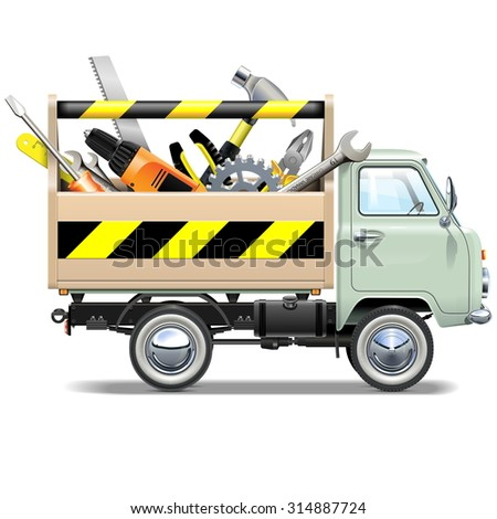 Vector Retro Truck with Toolbox - stock vector