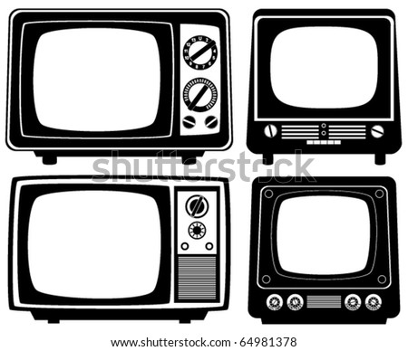 vector retro tv set - stock vector
