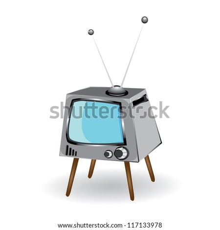 vector retro tv set. vector illustration. black and white television. - stock vector