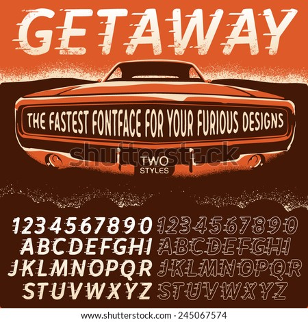 Vector Retro Type Font in movie poster style. Plain and Outline styles. Vintage Alphabets with grunge elements - stock vector