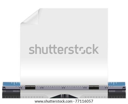 Vector retro typewriter with a blank paper - stock vector