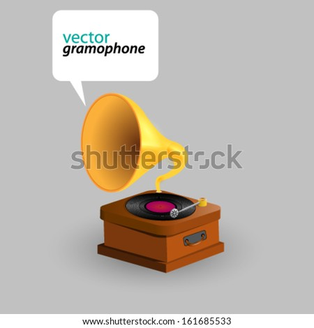 Vector Retro Vintage Gramophone with speech bubble illustration