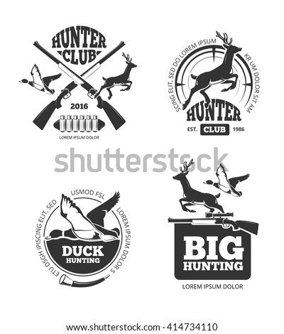 Vector retro vintage hunting labels, emblems, logos, badges. Hunting logotype, duck and deer, hunting hobby, hunting sport illustration - stock vector