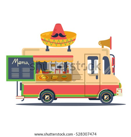 89 Taco Food Truck Illustration Vector Colorful Flat Mexican Food