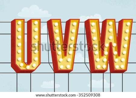 vector retro volumetric signboard letters with light bulbs and texture old vintage style marquee letters