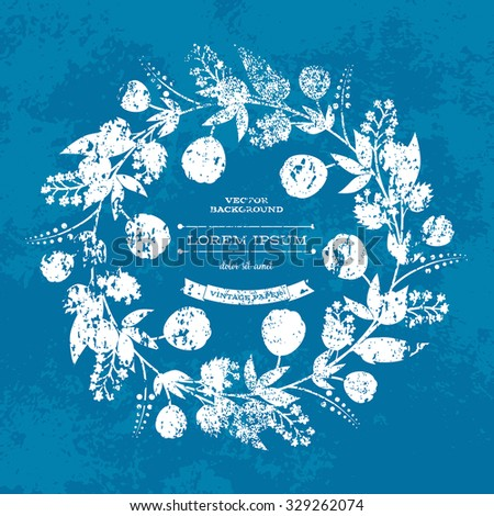 Vector retro weathered blue grungy floral background - round wreath frame - stock vector