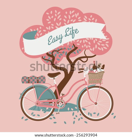 Vector retro web banner on easy life with tree and vintage bicycle with dress guard, wicker basket full of food like wine bottle, bread and apple and folded blanket on rear rack, pink background - stock vector