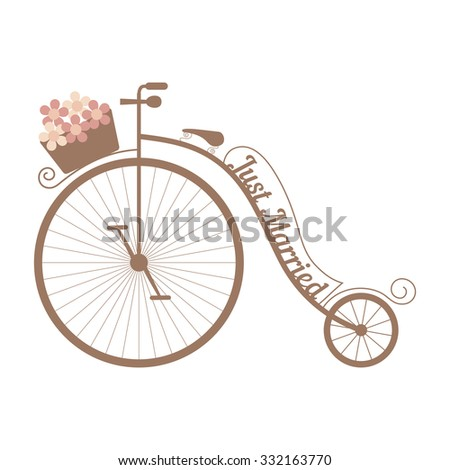 Vector retro wedding bicycle with curls and basket of pink flowers. Element for your wedding designs, wedding business projects, logo, and other your projects - stock vector