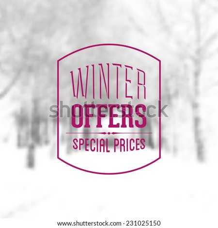 Vector Retro Winter banner typography. Winter offers Label in blurred landscape background.  - stock vector