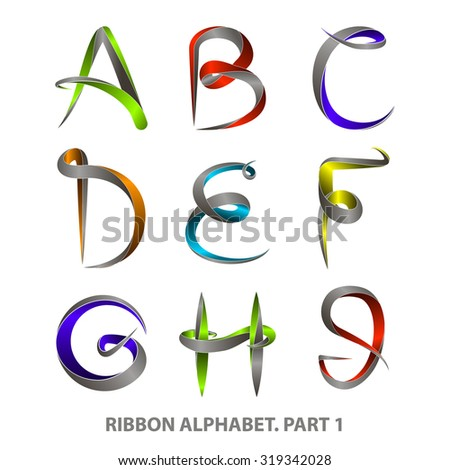 Vector ribbon alphabet. Colorful letters. EPS 10. Letters - A, B, C, D, E, F, G, H, I