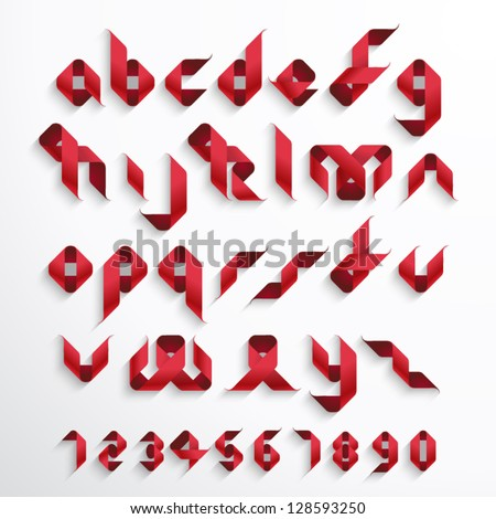 Vector Ribbon Alphabet Set - stock vector