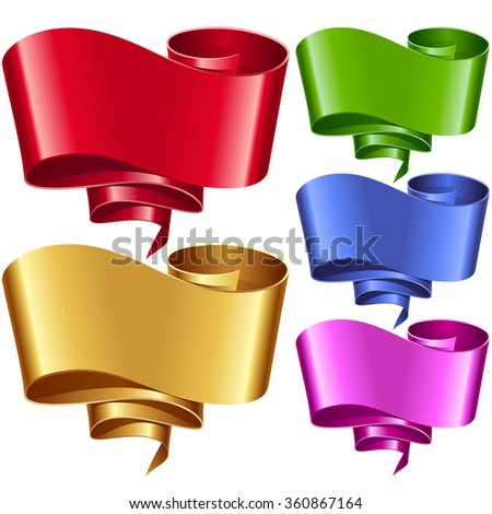Vector ribbon frames set. Banners in the shape of speech bubble - stock vector
