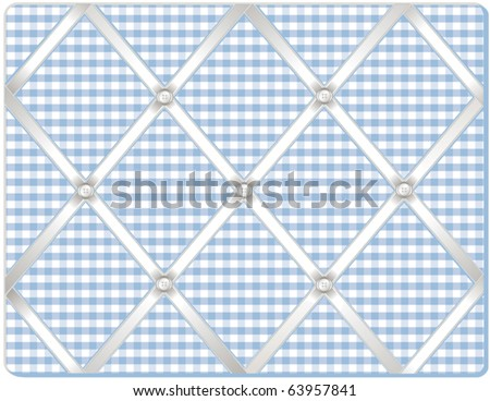 vector - Ribbon Pin Board.  Tuck your favorite photos into this old fashioned bulletin board, padded pastel gingham fabric, buttons, crisscross white satin ribbon. EPS8 in groups for easy editing. - stock vector