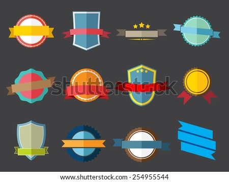 Vector ribbons and labels in flath style - stock vector