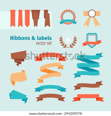 Vector ribbons and labels in modern trendy style - stock vector
