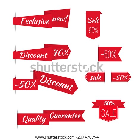 Vector ribbons banners with slogans exclusive, discount, quality, sale. Set tags  labels.  - stock vector