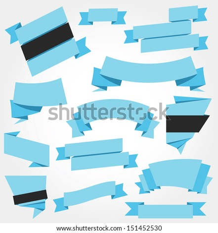 Vector Ribbons Set Blue - stock vector