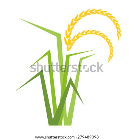 Vector rice tree in flat style - stock vector