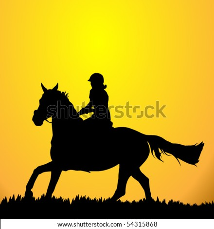 vector rider and horse - stock vector