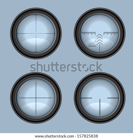 Vector rifle scope crosshair - four types - stock vector
