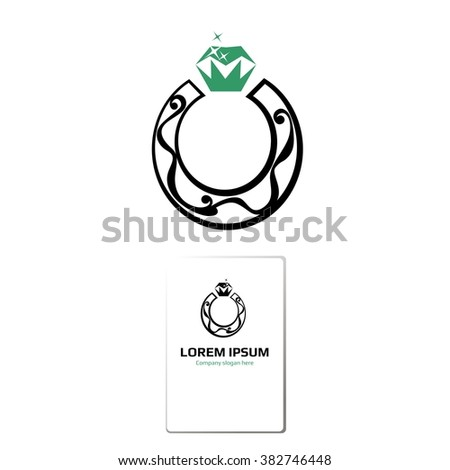 Vector ring / horseshoe-shaped mark. Logo. Business icon for the company. Jewelry. Wedding / engagement day. Vector illustration. - stock vector