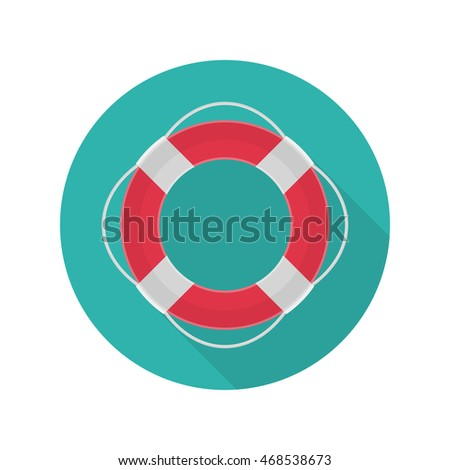 Vector ring lifebuoy icon whit long shadow. Design element.