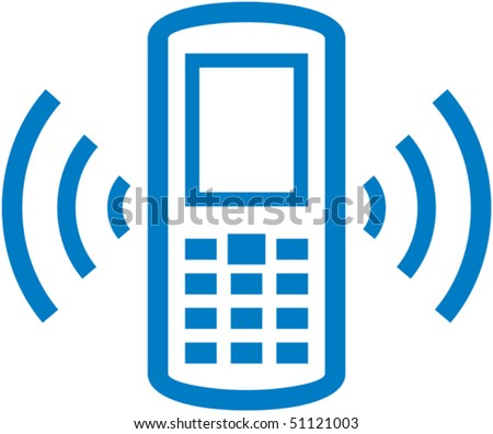 Vector ringing cell phone illustration - stock vector