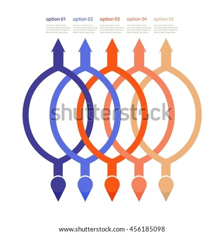 Vector rings infographic. Template for cycle diagram, graph, presentation and round chart. Business concept with 5 options, parts, steps or processes. Data visualization.