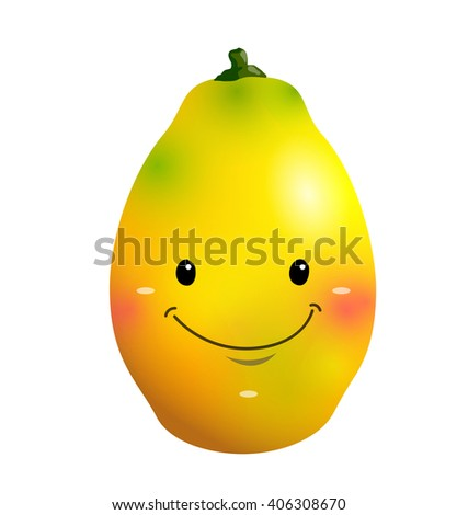 Vector ripe mango fruit cartoon character, on a white background - stock vector
