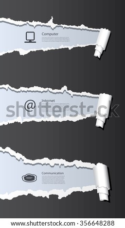 Vector ripped paper background with web and computer icons.