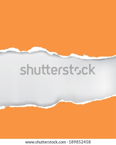 Vector ripped paper Vector illustration of orange ripped paper with place for your image or text  - stock vector