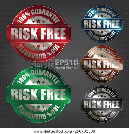 vector : risk free 100% guarantee sticker, badge, icon, stamp, label, banner, sign